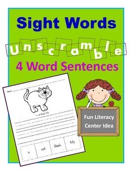 Sight Words / Mixed Up Sentences / Sentence Writing Activity