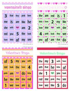 Sight Words Valentine Bingo