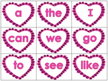 Sight Words Valentines Bang Game for Literacy Center or Small Group Activity