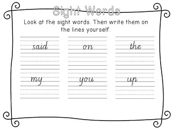 Sight Words (Victorian font)