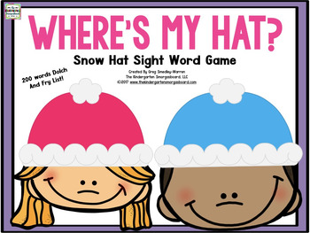 Sight Word Recognition Game:   Where's My Snow Hat?
