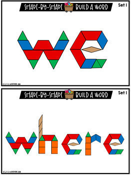Sight Words With Pattern Blocks | Pattern Block Templates (Pre-Primer Words)