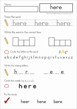 Sight Words No Prep Word Work (Pre-Primer Words)
