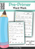 Sight Words No Prep Word Work (Pre-Primer Words)