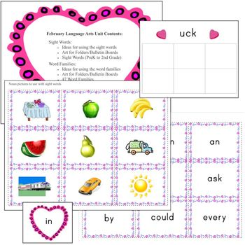 Sight Words & Word Family File Folder Games, Bulletin Board Ideas (February)