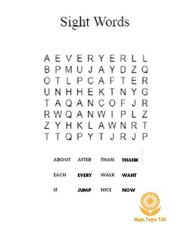 Sight Words Word Find