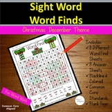 Sight Words Word Find December Christmas Worksheets