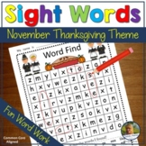 Sight Words Word Find November Thanksgiving Theme