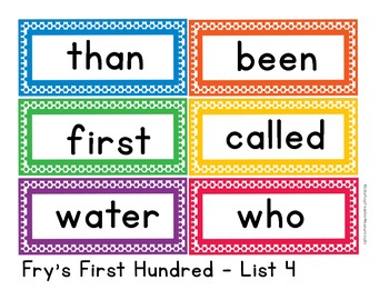 Sight Words Word Wall Cards - Fry's First 200 Sight Words - Color Polka Dots