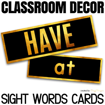 Sight Words Word Wall - Classroom Decor Black and Gold