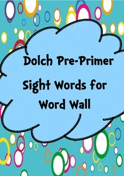 Sight Words Word Wall Pre-Primer