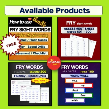 Sight Words - Word Wall / Flash Cards - NOUNS -  K-3 - Dolch - NO PREP