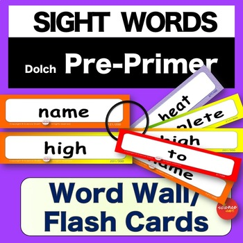 Sight Words - Word Wall / Flash Cards - PrePRIMER - K-3 - Dolch - NO PREP