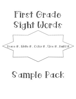 Sight Words Word Work Sample