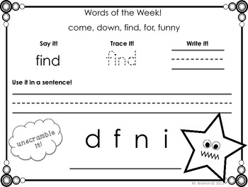 Weekly Sight Words-Pre-Primer Edition