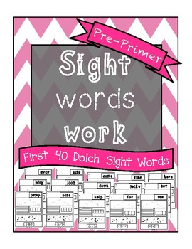 Sight Words Work PrePrimer