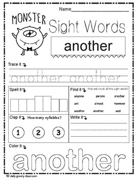 Sight Words Worksheet 2nd grade - Set 1 - Fry's 200 (Monster)
