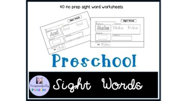 Pre-Primer (preschool) Sight Words practice