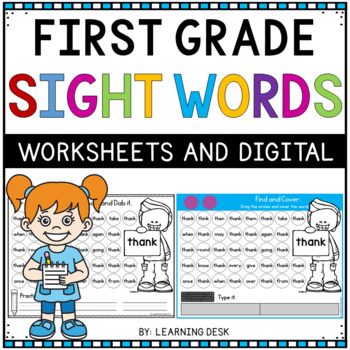 Kindergarten-First-Second-Third Grade Sight Word Activity Worksheets Bundle