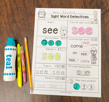 Sight Words Worksheets | Dolch Pre Primer |  Flash Cards | Read Build Write