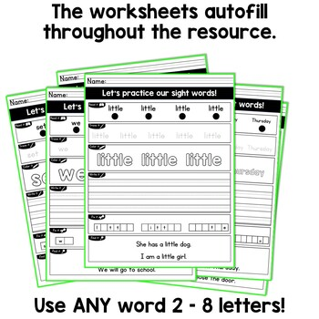 Sight Words Worksheets EDITABLE Sight Words