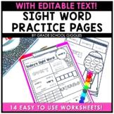 Sight Words Worksheets EDITABLE
