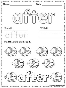 Sight Words Worksheets (First Grade)