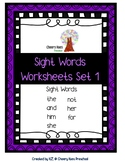 Sight Words Worksheets Set 1 (No Prep)