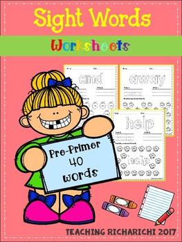 Sight Words Worksheets (Pre-Primer)