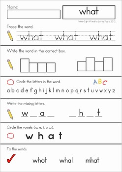 Sight Words Word Work (Primer Words)