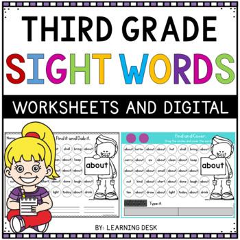 Third Grade Sight Words Activity Worksheets