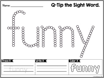Sight Words Worksheets with Q-Tip Painting BUNDLE