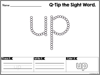 Sight Words Kindergarten Worksheets with Q-Tip Painting