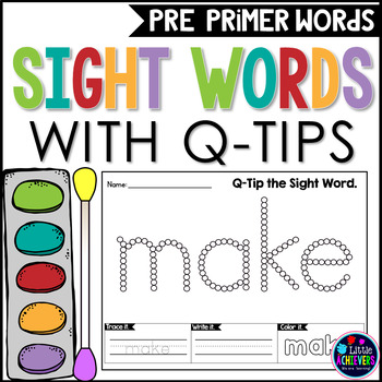 Kindergarten Sight Words Activities Worksheets with Q-Tip Painting
