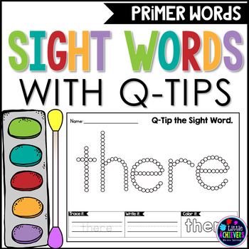 Sight Words Worksheets with Q-Tip Painting - PRIMER WORDS