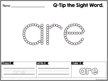 Q Tip Painting Sight Words Kindergarten Worksheets by Little Achievers