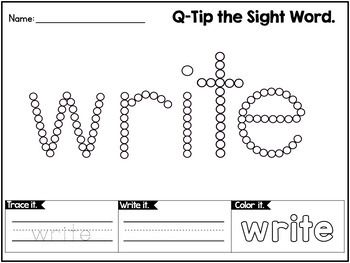 Sight Words Worksheets with Q-Tip Painting - SECOND GRADE WORDS