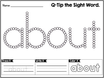 Sight Words Worksheets with Q-Tip Painting - THIRD GRADE WORDS