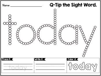 Third Grade Sight Words Activity | Q-Tip Painting Sight Words