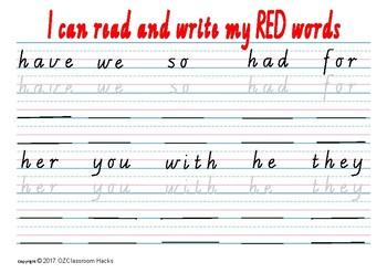 Sight Words Writing Practise Worksheet written in VICTORIAN CURSIVE SCRIPT