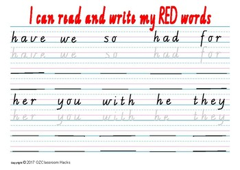 Sight Words Writing Practise Worksheet written in VICTORIAN CURSIVE SCRIPT