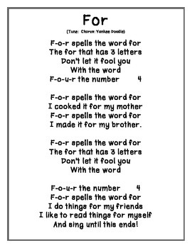 Sight Words and Color Songs