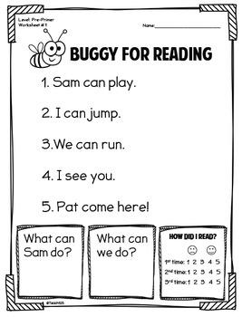 Fluency Passages Preprimer First Grade Sentence Scramble