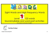 Sight Words and High Frequency Words Level 1 Standard Aust