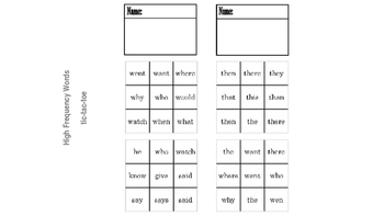 Sight Words and Word Parts Games