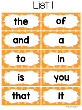 FRY Words and Word Wall Cards for Kindergarten