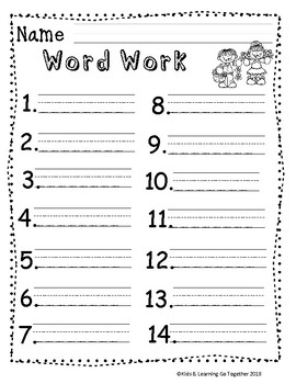 Sight Words and Word Work Recording Sheets