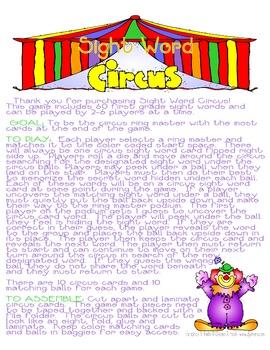 Sight Words at the Circus