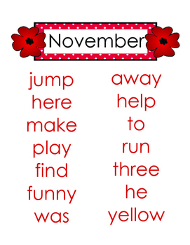 Sight Words by Month (pdf)