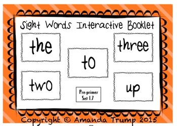 Sight Words (the, three, to, two, up) Interactive Booklet 1.7